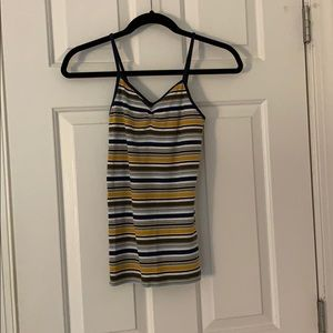 Tops - Navy Gold Brown Striped Tank Top